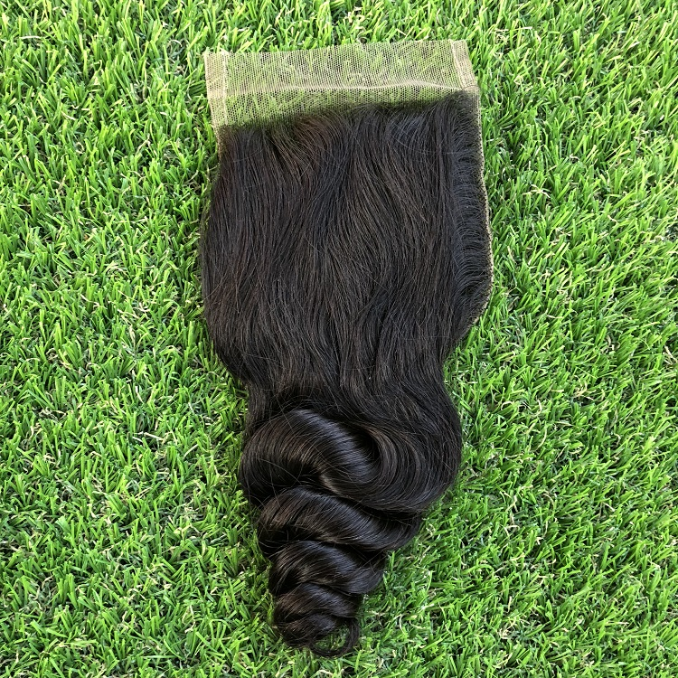 100% handmade un processed closure with baby hair swiss lace closure