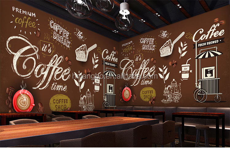 Kustom coretan mural wallpaper murah cafe minuman shop for Mural untuk cafe