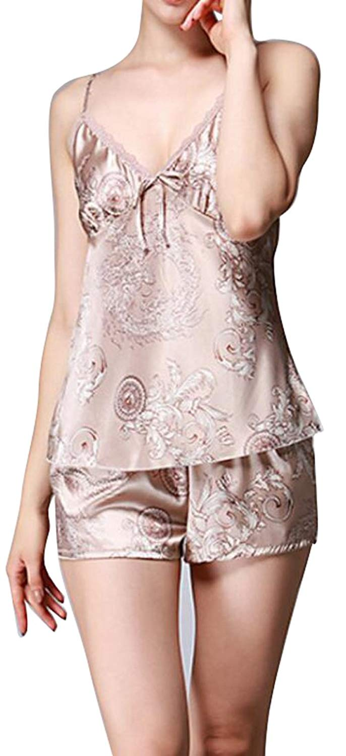 e5821f7c41c Get Quotations · LD Womens Casual Silk Pajama Lingerie Printing Cami Tops  and Shorts