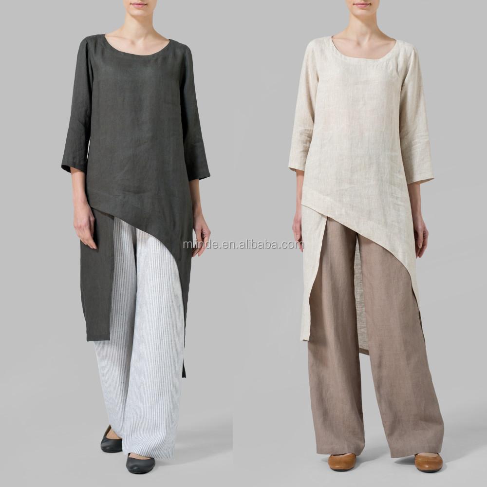 Hot Sales Fashion Women Linen Asymmetrical Tunic Indian Style Tunic Tops Wholesale Clothing