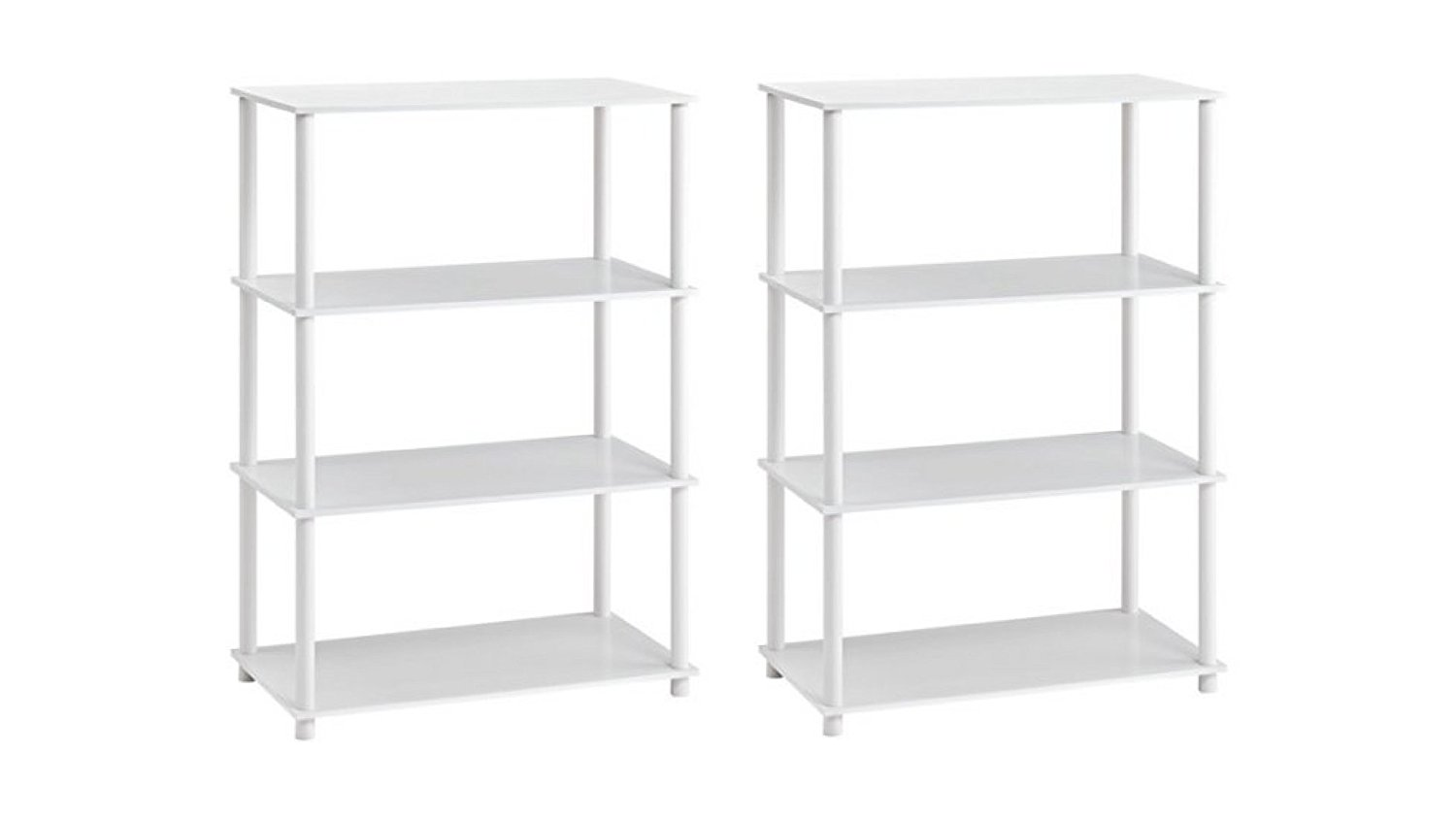 "Mainstays 29.61"" W X 15.55""D X 42.60""H Wood and Plastic No Tools 6-Cube Storage in 3 Shelves, (White)"