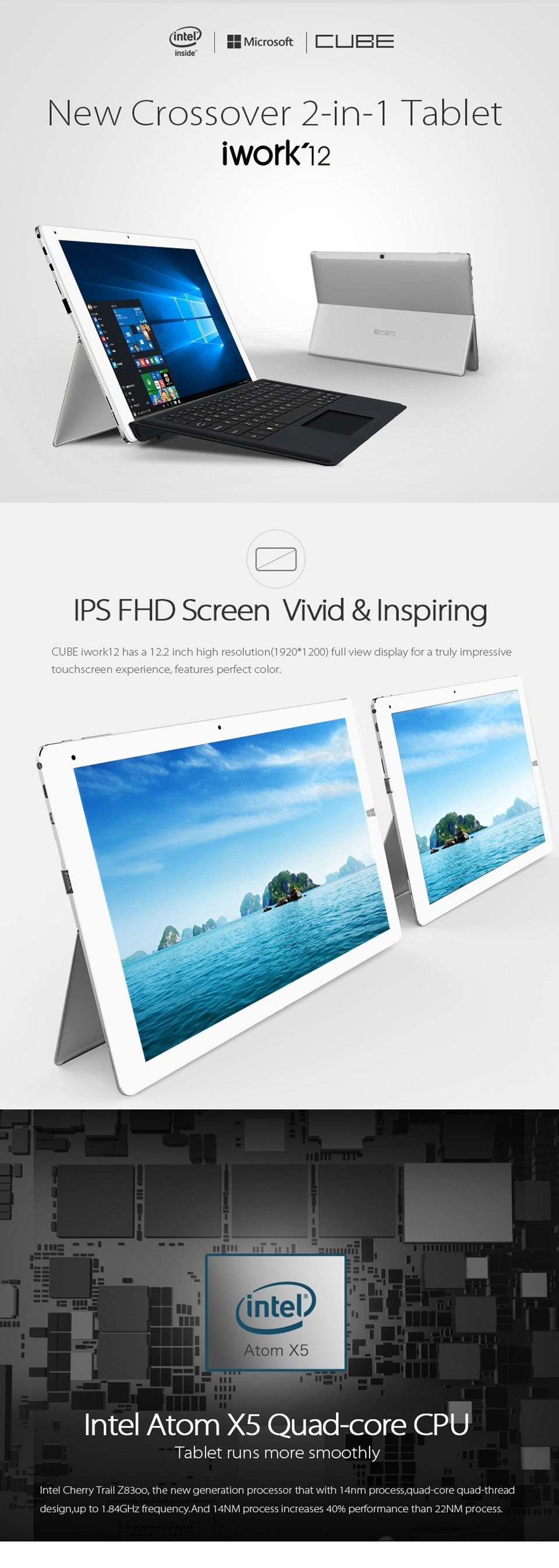 12.2 inch 1920*1200 IPS Tablet PC Cube iwork12 Dual Boot Windows10+Android5. Quad Core 4GB 64GB