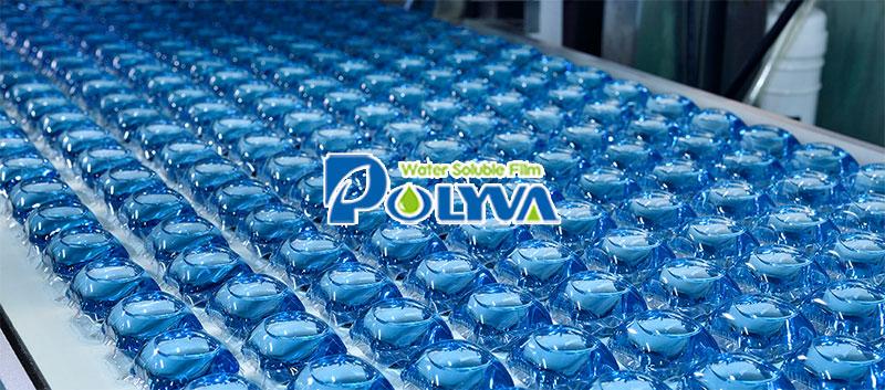 Solubile in acqua lavanderia baccelli di polivinile film di alcol imballaggio/macchina di rifornimento