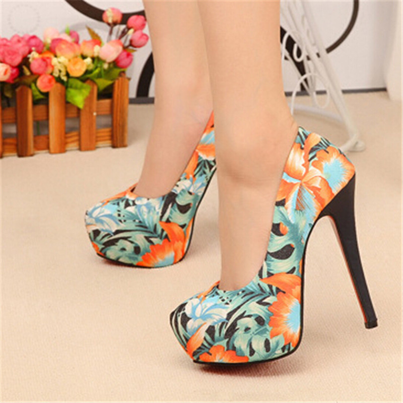 SH026 new fashion wholesale China supplier pump party heel shoes printed design stiletto shoes