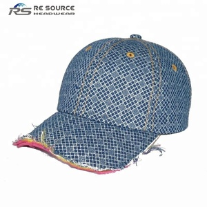100% cotton 6 panels plain custom destroyed distressed washed checked  sports baseball caps hats with e441f076d77b