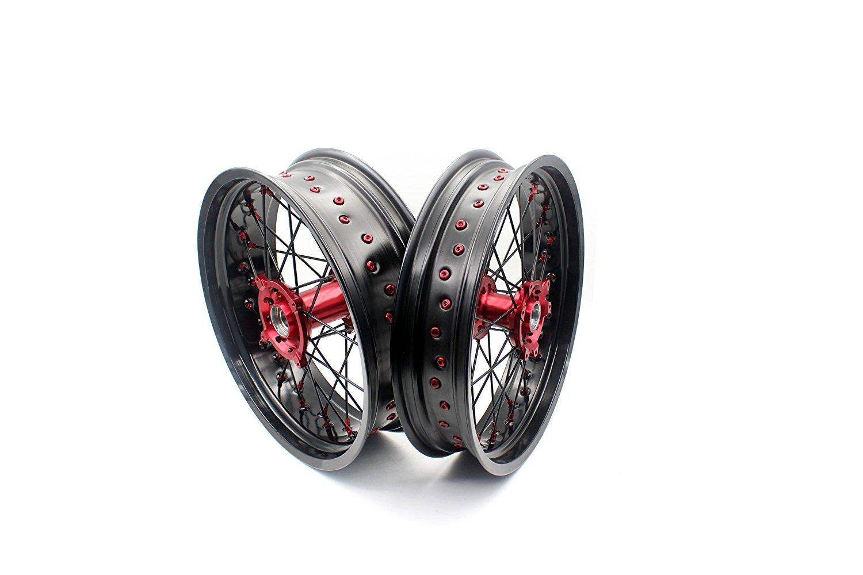 KKE HONDA 3.5×17/4.25×17 SUPERMOTO MOTARD WHEELS SET CRF250R 04-13 CRF450R 02-12 CR125R CR250R 2000-2013 RED NIPPLE BLACK SPOKE