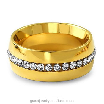 Clic Simple 1 Row Cz Paved 22k Fake Gold Rings Design For Men