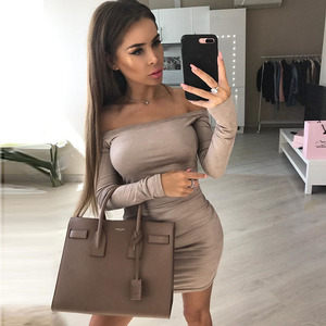 Cheap Women Sexy Off Shoulder Short Mini Dress With Long Sleeve