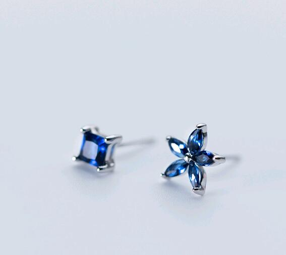 SE104-112 Halo nizza blue stone 925 sterling silver flower ear studs
