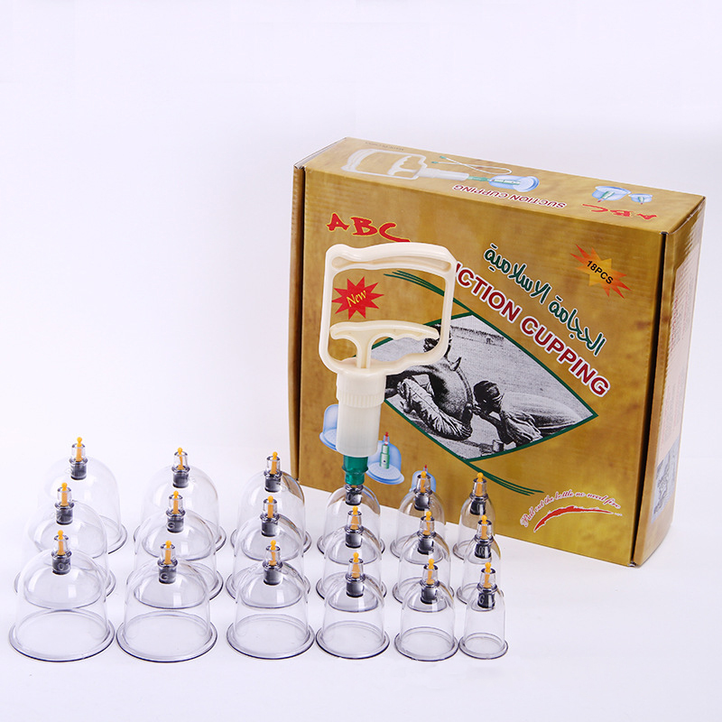 18pcs on sale cupping hijama cups therapy set vacuum cupping set Arabic package plastic cupping set