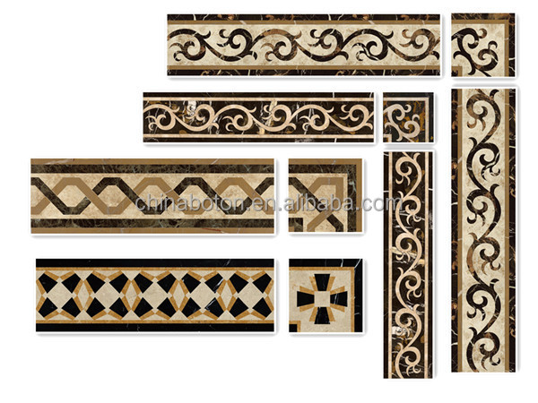 Composite Natural Stone Waterjet Mosaic Border For Wall,Marble