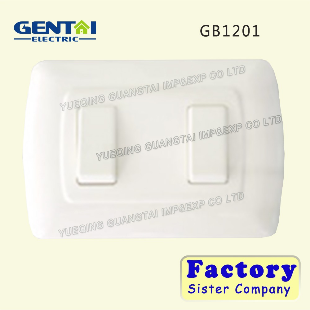 whole sales price 13a 2 gang one way white big button wall switch
