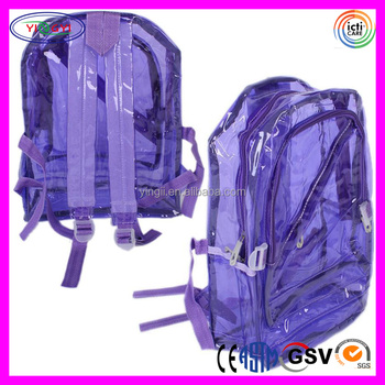 B159 Adult Kids Neon Clear Plastic Backpack Student New Bag School Transparent Backpack