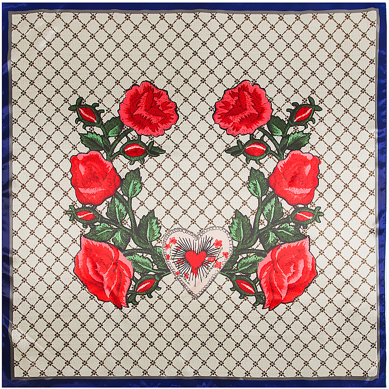 90cm embroid rose flower Silk Square Scarf Women Fashion Imitated Silk Satin flower Air conditioning sunscree Shawl
