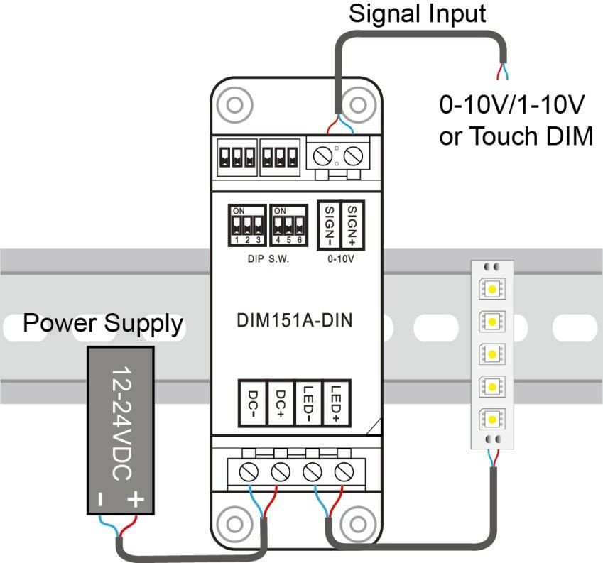 1-10v Dimmer Single Channel 15a  Dim151a-din