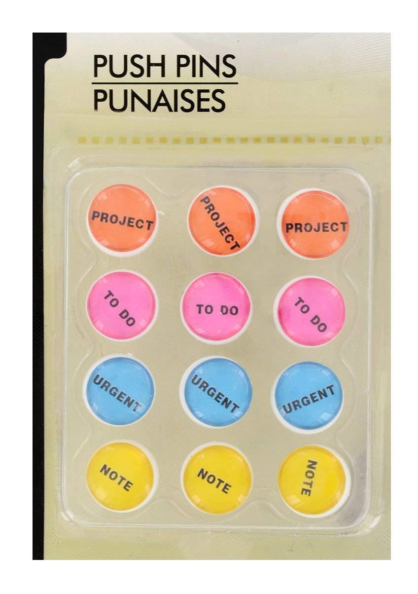 12 ct Set of Bulletin Board Push Pins - Project, to Do, Urgent, Note (Colorful Office Desk Stay Organized)