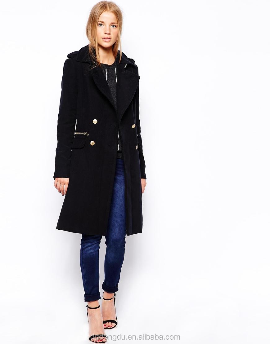 Fashion elegant military style coat women wrap front long coat women 6bae308a78