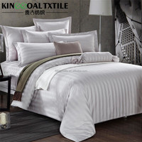 Hotel use 100% cotton flat sheet quilt cover white sateen bedding sets 3/4 pieces