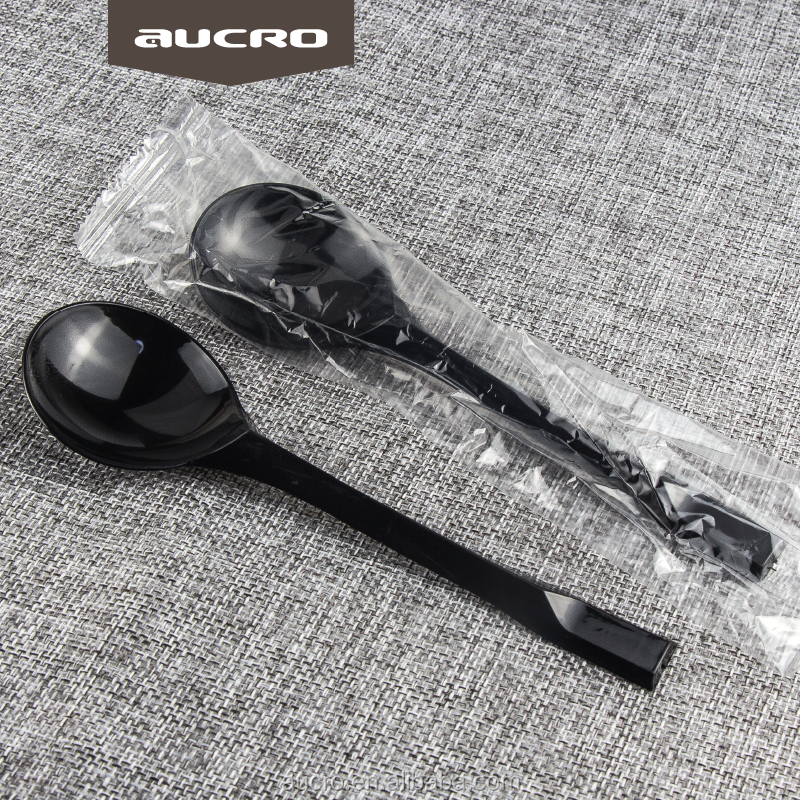 disposable wrapped plastic spoons black