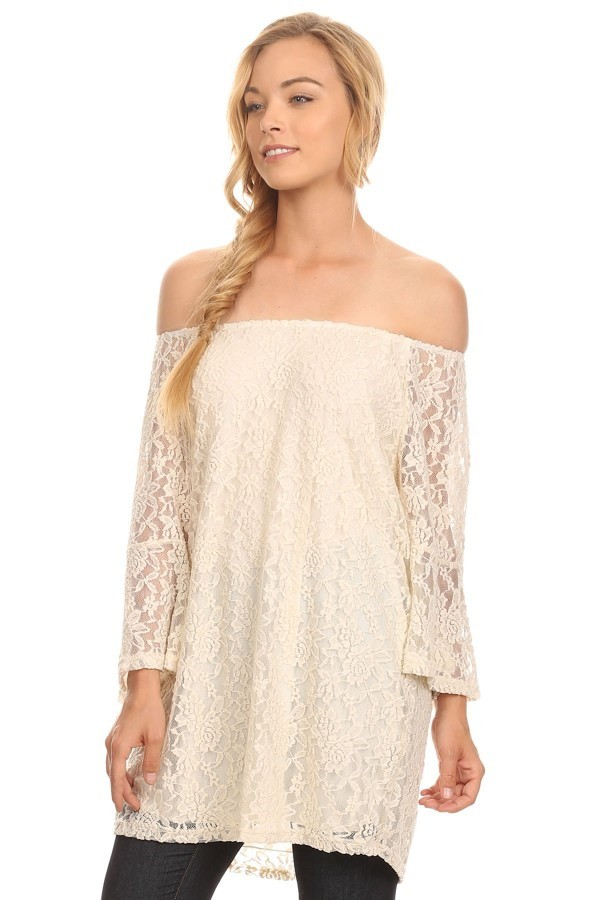 cc1369b456e С открытыми плечами кружевное мини-платье для женщин кружевная блузка цвета  морской волны с расклешенными