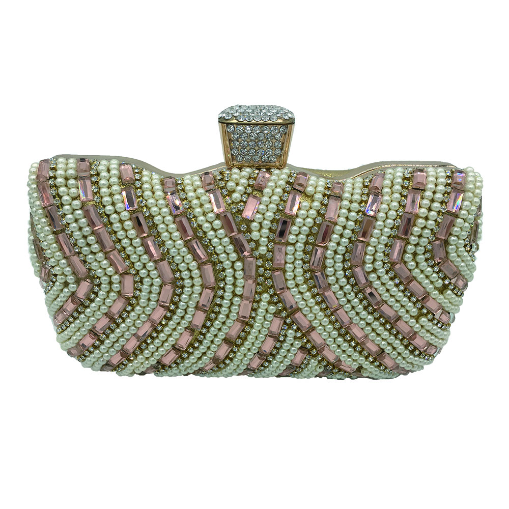 New arrival design cystal beaded evening bags for ladies acrylic clutch bag