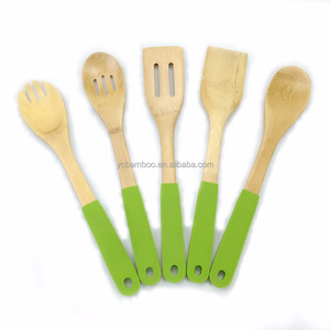 Bamboo colorful kitchen utensils set with silicone handle