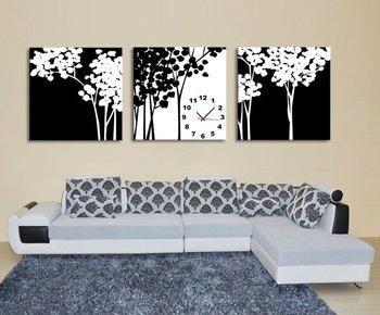 Pareti Con Foto In Bianco E Nero : Tre pezzo in bianco e nero con albero orologio da parete buy