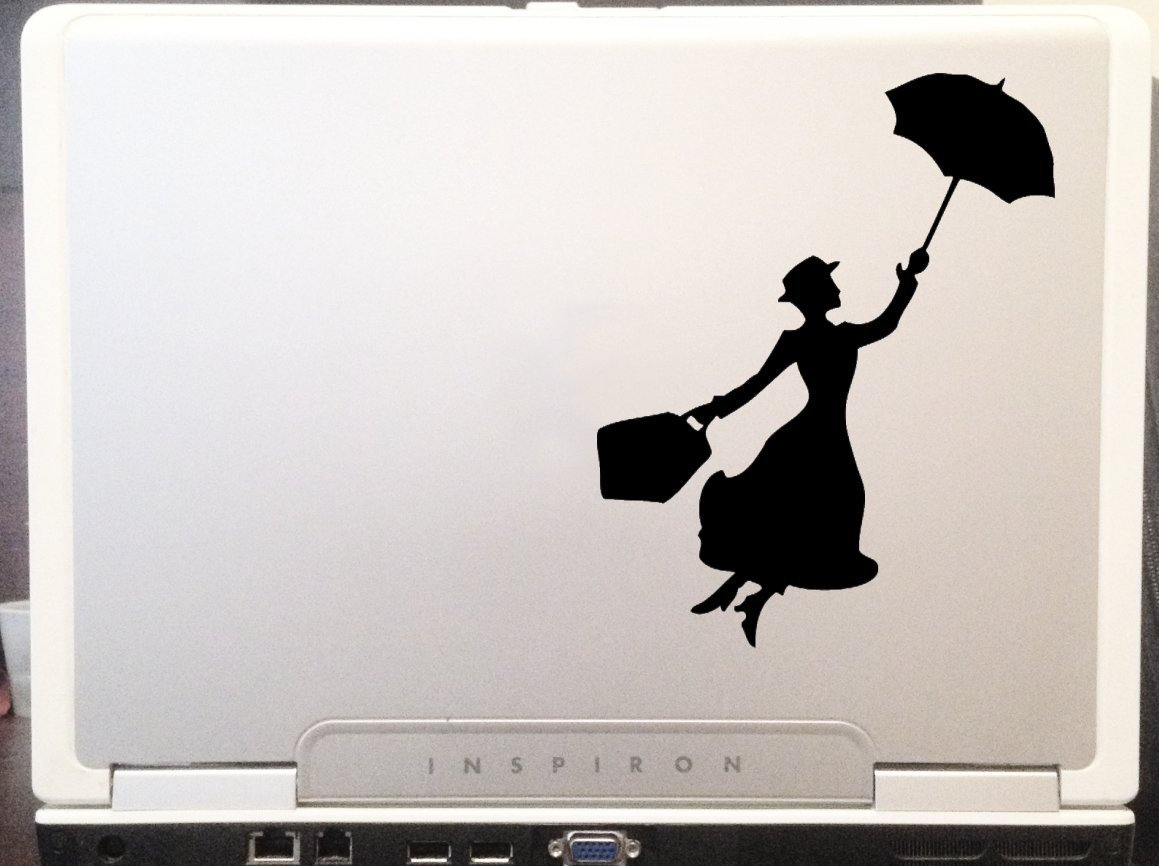 """Mary Poppins Silhouette 6"""" Black Car Truck Vinyl Decal Art Wall Sticker USA Classic Disney Movies Cute Awesome Fun Perfectly Perfect Adorable"""