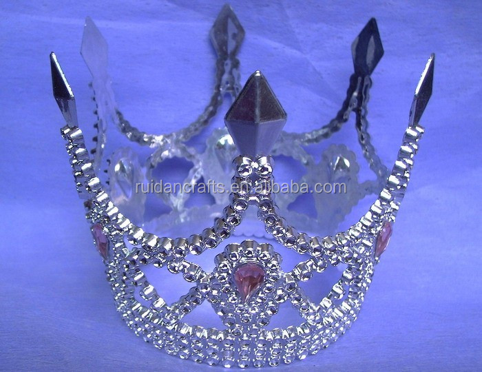 8cm highx12cm diameter metallic silver plastic tiaras round king tiaras and crowns