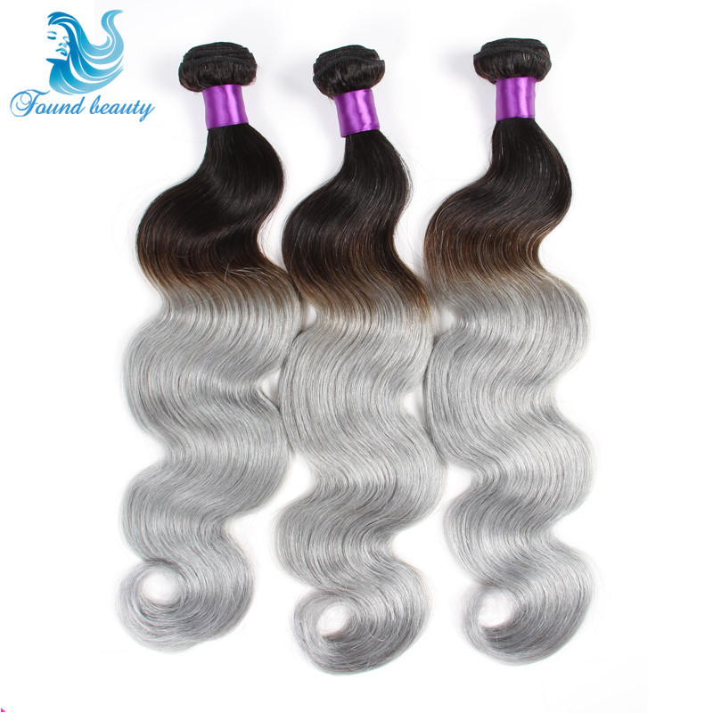 HC New Arrival Brazilian Body Wave 3pcs/lot Two Tone Ombre Silver Grey Hair Weave 1b/Gray Brazilian Virgin Human Hair Extensions