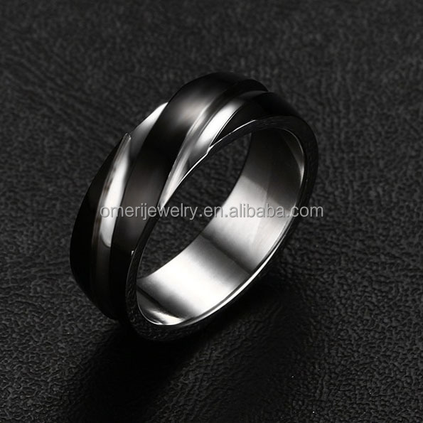 Fashion Stainless Steel Black Wedding Man Engagement Band Ring China Wholesale jewelry