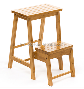 Multifunctional Foldable bamboo Step Stool and ladder