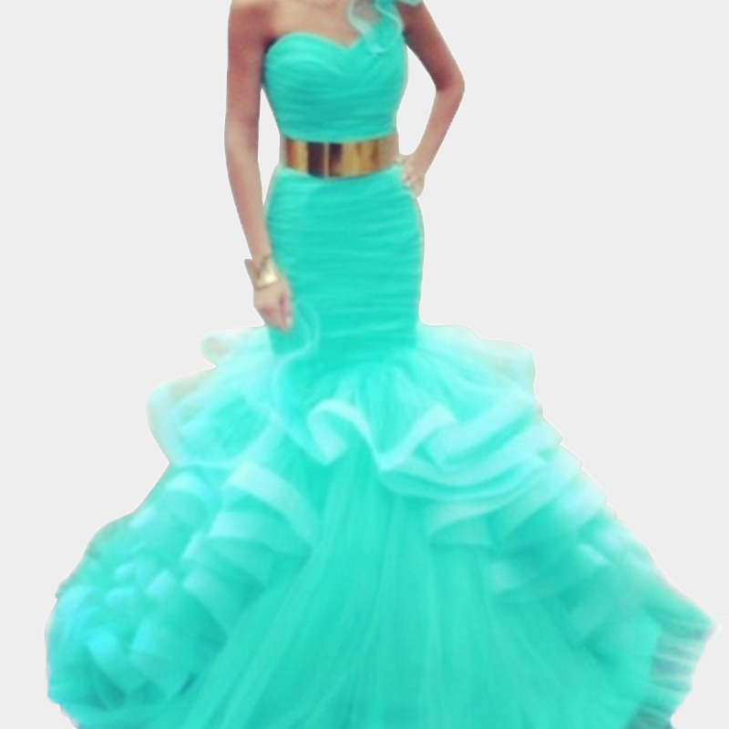 0d7c9d9b995 Buy Baby Blue Prom Dresses 2015 Sexy Organza One Shoulder Mermaid Prom Gown  with Ruffles Abendkleider in Cheap Price on m.alibaba.com
