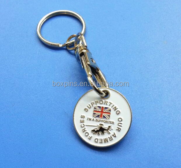 UK supporter Coins Trolley Keychain shopping cart coin holder for Promotional