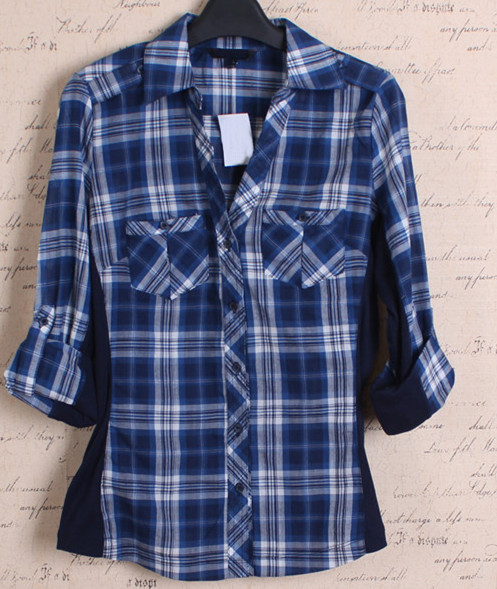 Women yellow two pockets flannel check latest blouse designs 2015 fishing shirt