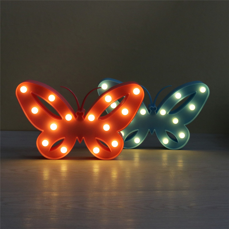 3D LED Night Light Romantic Flamingo Table Lamp Blue Marquee Lamp For Baby Bedroom Decor