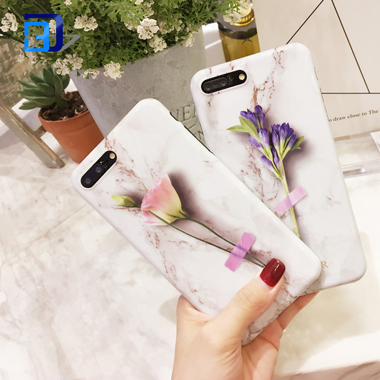 2017 New Arrivals Fashion Accessories IMD Marble Printed Flower Glossy Soft TPU Silicon Cover Case For iPhone 7/7 Plus