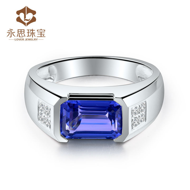 ring tanzanite in men product emerald aaa detail genuine cut solid white