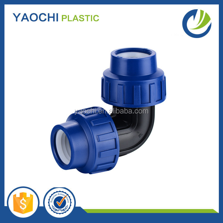 china wholesale dark blue color PP compression fittings 90 degree elbow