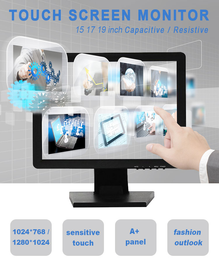 "12"" 15"" 17"" 19"" 22 inch capacitive/resistive touch screen monitor/LED monitor with factory price"