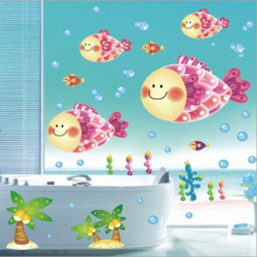 big fish cartoon wandaufkleber f r dusche fliesen aufkleber im bad f r kinder kinder baby bad. Black Bedroom Furniture Sets. Home Design Ideas