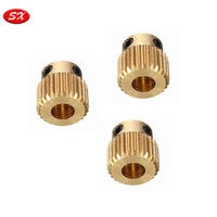 Custom 3D Printer Part CNC Turned Part Brass Extruder Gear M3 Metric Screw