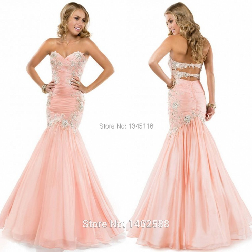 Lace Appliques Pink Chiffon Sweetheart Prom Mermaid Dresses 2015 Elegant Formal Evening Gowns Vestidos de festas longo