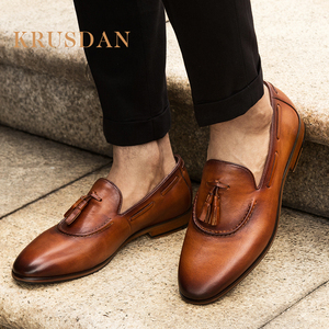 Guangzhou factory customized handmade luxury pure men dress leather shoes