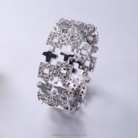China manufacturer 925 silver pave diamond ruby fashion ring jewelry supplier made in China