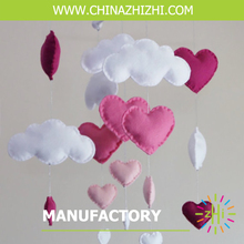 new style china factory price felt cloud heart felt baby rattle baby mobile