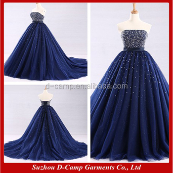 Wd300 Strapless Beaded Fitted Bodice Royal Blue Wedding Dresses - Bling Wedding Dresses