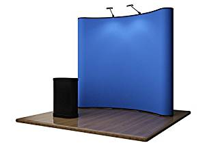 8FT PORTABLE DISPLAY - BLUE VELCRO POP UP TRADE SHOW BOOTH **PREMIUM SERIES** Includes Podium Counter and LED Lights!!!