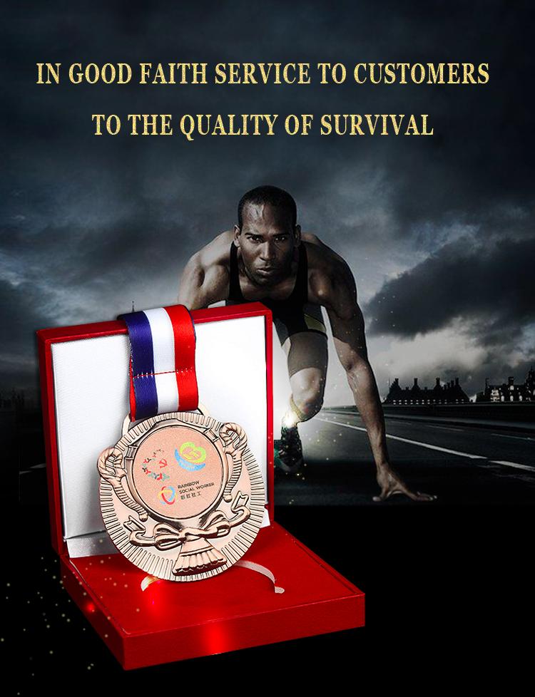 الصين الصانع ثلاثية الأبعاد تصميم بنفسك سبائك الزنك الذهب ماراثون ميدالية معدنية مخصصة مع الحبل