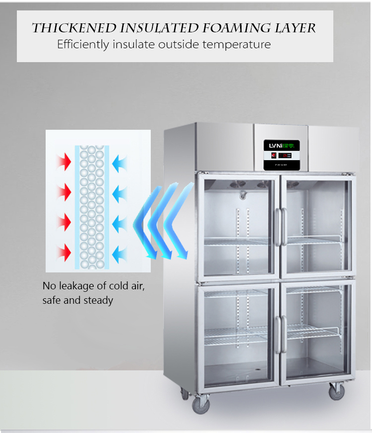 LVNI factory outlet hot sale hotel kitchen 4 glass doors display deep upright refrigerator freezer for restaurant
